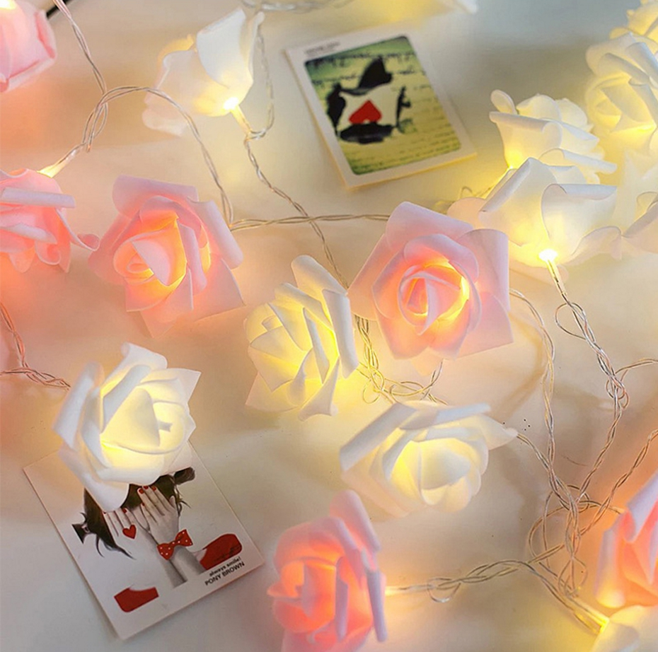 YINGTOUMAN 10M 100LED Flower Type Plugs Christmas Party Lights Garden String Light Outdoor Decorative Rose Flower Lamp