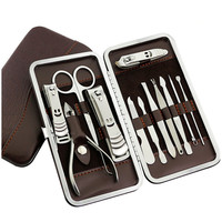 12 Pçs/set Profissional cortador de Unhas Cutícula Nipper Pedicure Manicure Cleaner Kit Cortador De Unha Caso Ferramenta Essencial Para Casa