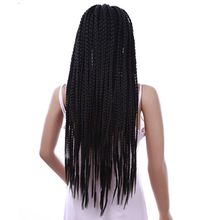 Luxury For Braiding Kanekalon 14inch Natural Black Afro Bob Braided Syntheic Lace Frontal Wig with Baby Hair for Women