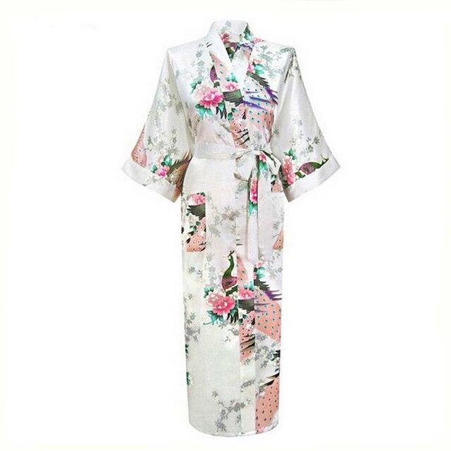 Сексуальный белый китайских женщин искусственного шелковый халат кимоно ванна платье лето длинное ночная рубашка отпечатано цветок пижамы Большой размер S-XXXL BR043