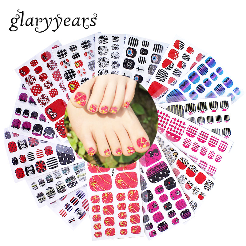 glaryyears 1 Sheet Full Cover Y Toe <font><b>Nail</b></font> Art Glitter Toenail <font><b>Sticker</b></font> Anchor Bow Tie Candy Sparkling Foot Decal <font><b>Sexy</b></font> Summer Style image