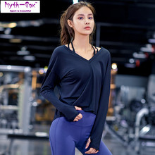 Women Yoga Shirts Female Running T-shirt Loose V-neck Fitness Long Sleeve Sport T-shirts Elastic Split Tops Gym Trainning Blouse