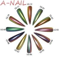 A NAIL 12 Boxes Set 12 Colors Holographic Peacock Chrome Pigment Chameleon Nail Glitter Holo Laser