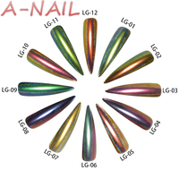 A NAIL 12 Boxes Set 12 Colors Holographic Peacock Chrome Pigment Chameleon Nail Glitter Holo Laser