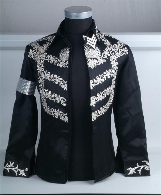 Custom Made New MJ Professional Cosplay MICHAEL JACKSON Costume This is it Black Jacket Diamond Shirt