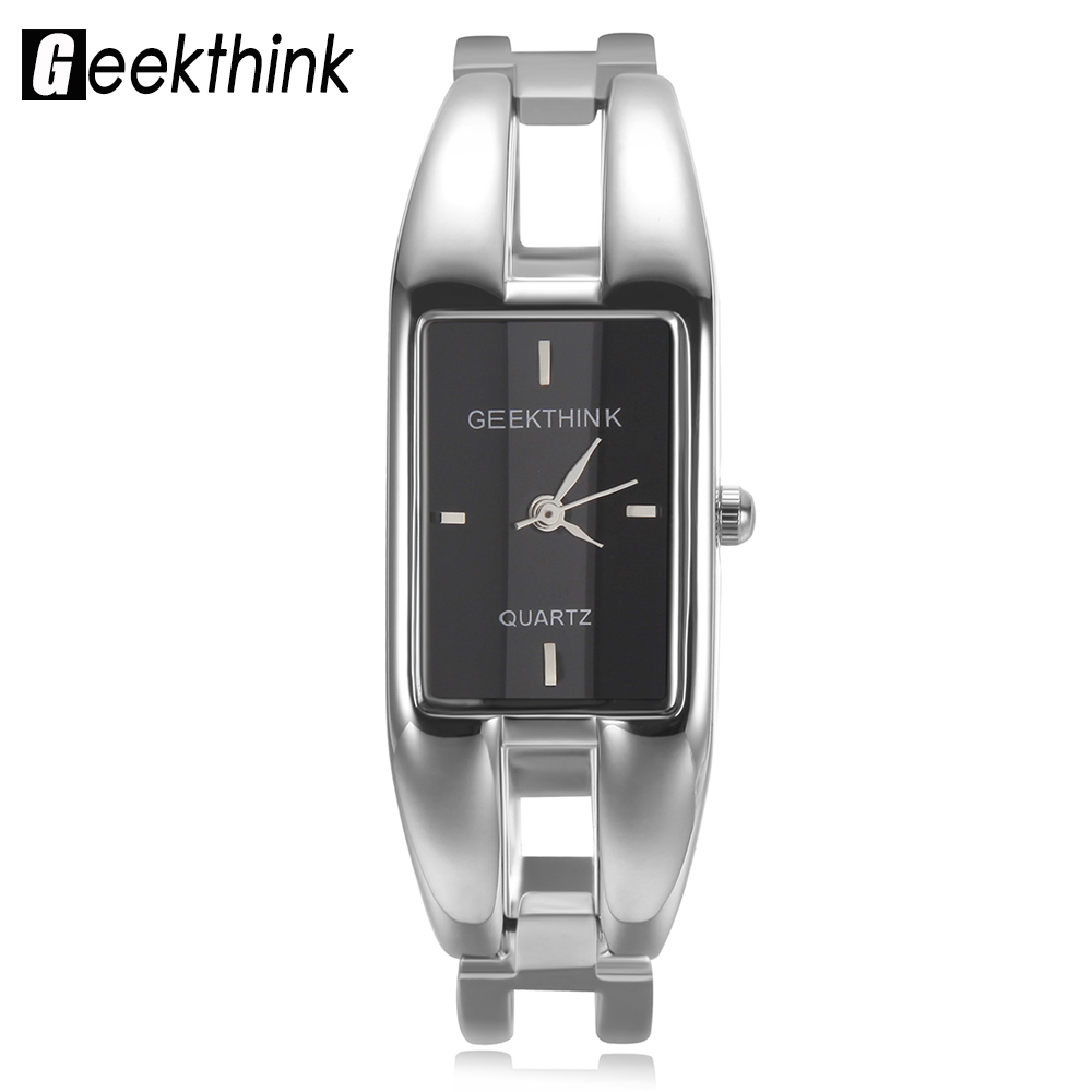 GEEKTHINK Luxury Brand Quartz Watch Kvinnor rektangel Rostfritt stål kvinnoklocka Armband Lady Casual Armbandsur present 3D Face