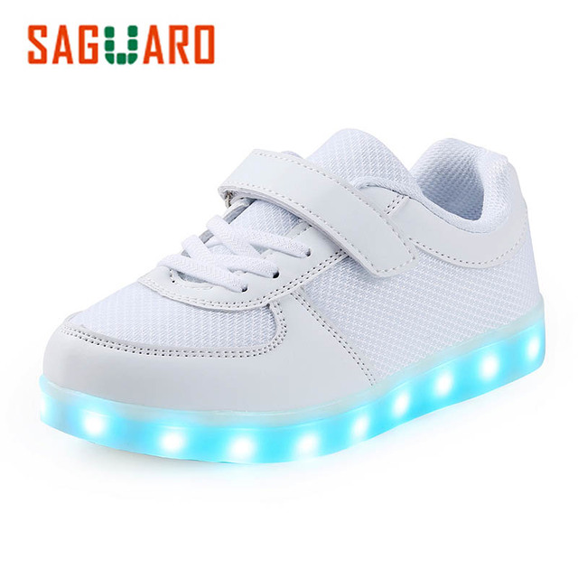 New Design Unisex Kids Sneakers LED Light Up Shoes Sport Running Shoes Luminous Flashing Glowing Shoes