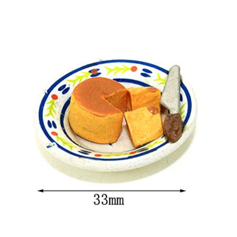 2Pcs/Set 1/12 Scale Miniature Dollhouse Pretend Food Miniature Cheese Cake Set For Dollhouse Decor Toys For Children Toy