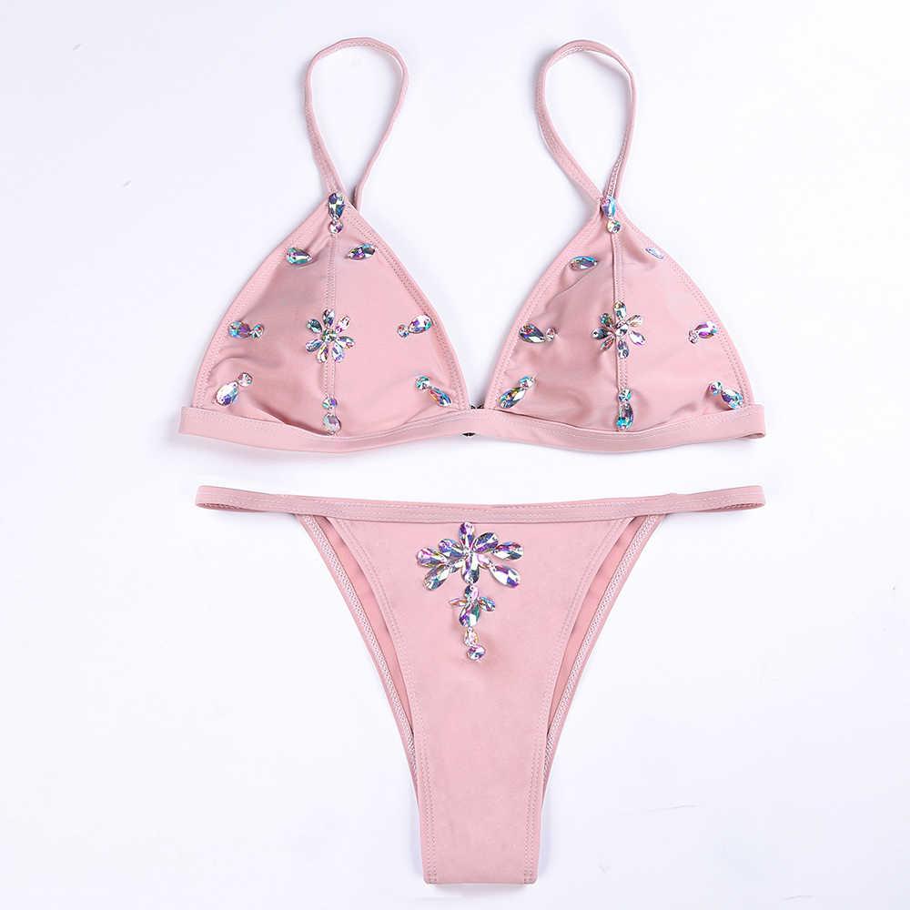 2018 cintura baja Sexy Bikini color puro trajes de baño de dos piezas traje de baño con decoraciones de cristal mujeres traje