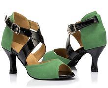 New Green Suede Salsa Tango Ballroom Dance Shoes Latin Dance Shoes Salsa Dancing Shoes Bachata Dance Shoes