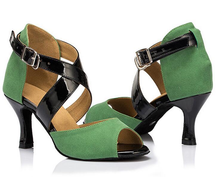 New Green Suede Salsa font b Tango b font Ballroom font b Dance b font Shoes