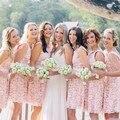 Rosa bonito Do Casamento Do Laço Branco Da Dama de honra Vestidos de Renda Curto Vestidos de Festa Vestidos de Dama de honra Vestido Formal