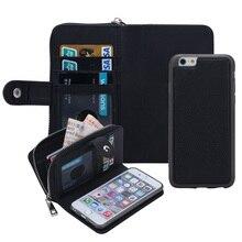 Для iphone 5 6 6S плюс Многофункциональный съемная Магнитная застежка-молния кожаные кошелек чехол флип чехол для iPhone 7/7 Plus