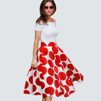 Summer Ladylike Patchwork Red Dots Vintage Slash Neck Womens Gorgeous Ball GownOff Soudler Desing Casual Dress