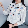 H.SA Women Floral Embroidery White Blouse Oversized Loose Shirt Office Wear Casual Tops Blusas White Summer Tops Tunic