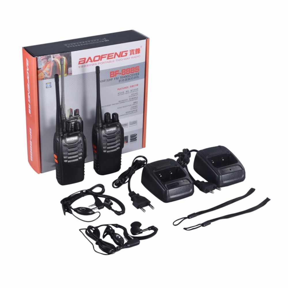 BAOFENG Walkie-talkie For Baofeng BF-888S VHF/UHF FM Transceiver 400-470MHz Flashlight 5W 16Ch With Headset 2-way Radio