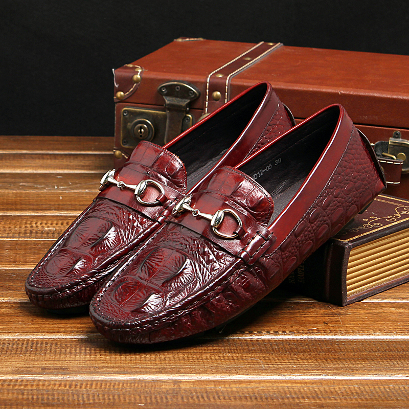 ФОТО Men's fashion casual style men's loafer shoes genuine leather gommin driving metal links decoration round toe EU38-44 gommin