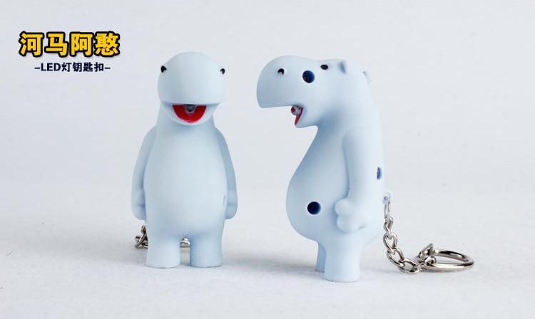 Cartoon white Hippo keychains shine font b flashlight b font accessories creative gift Gifts for children
