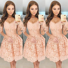 hirigin NewWomen Lace Prom Floral Formal Cocktail Party Ball Gown Dress Elegant Half Sleeve Vestidos