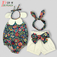 Sunflower Baby Clothing Set New Baby Girls Clothes Cute Sleeveless Bodysuit+Short+Headbands Christmas Tracksuit the Floral Suit