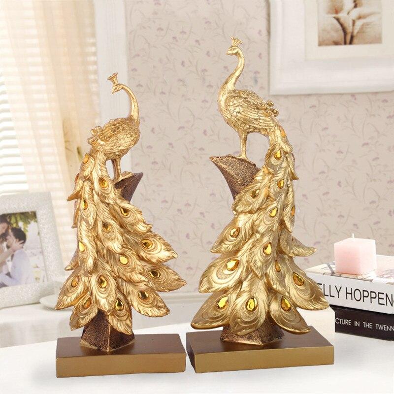Ménage résine paon ornements doré paon Figurines miniatures résine bureau artisanat décor à la maison accessoires cadeaux R162
