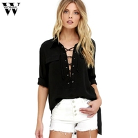 2017shirts Fashion Europe And The United States Solid Color Banded Long Sleeved Wild Shirt Sep5