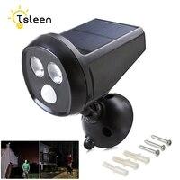 TSLEEN 2Pcs Super Bright LED Solar Light Waterproof PIR Motion Sensor 18650 Battery Garden Security Lamp