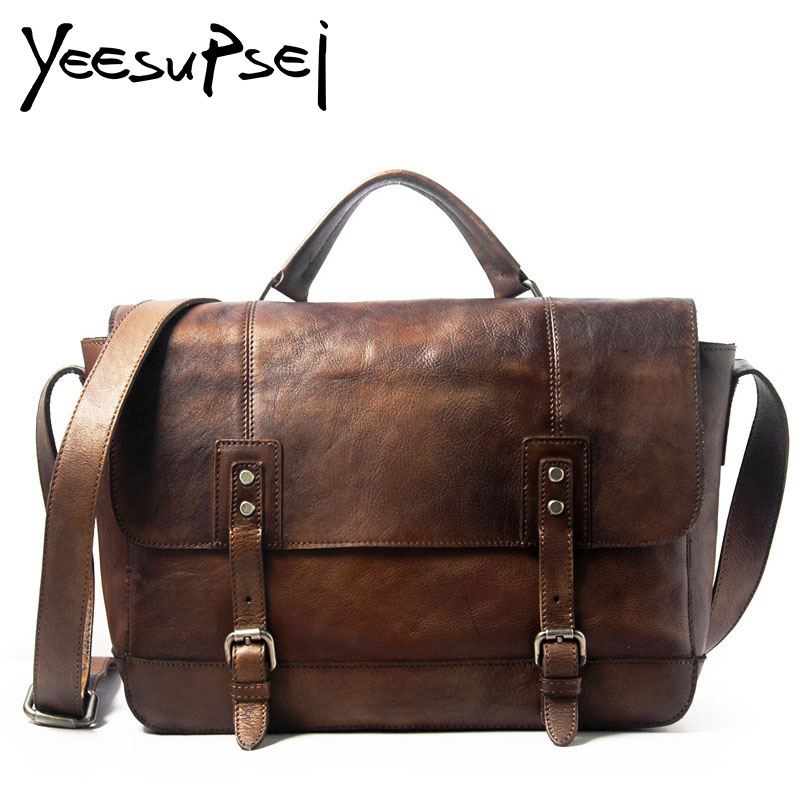 YeeSupSei Men Genuine Leather Briefcase Big Cover Double Buckle Laptop Tote Shoulder Bag Business Bag Double Layer Messenger Bag