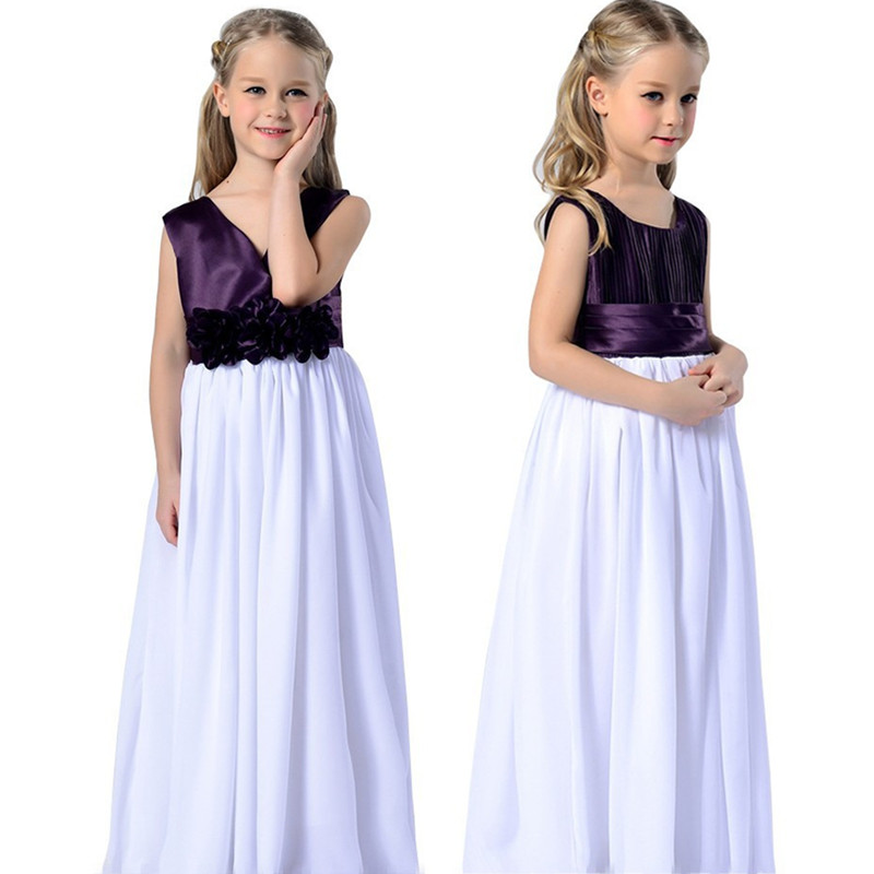Summer Bridesmaid Gown for Girl Children's Clothing Flower Princess Dress Costume long Girls Wedding Evening dress