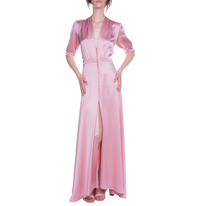 Elegant Pink V-neck Silk Long Party Dresses With Buttons 2018 Women Sexy Vintage Half Sleeve Pleated Maxi Summer Dress