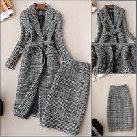 2018 New Autumn Winter Women's Slim Long Woolen Coat Jacket + High Waist Plaid Skirt Two Pieces Professional Skirt Suit