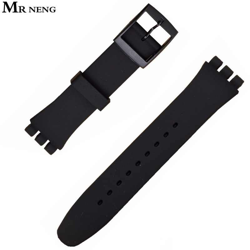 MR NENG High Quality Black Watch Band 17mm 19mm 20mm Silicone Rubber Watchband For swatch Colorful Rubber strap plastic buckle