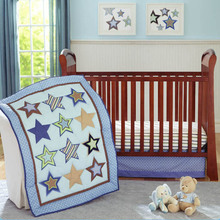 Promotion 4pcs Embroidery baby crib bedding set baby cot bedding set cartoon include bumpers duvet bed