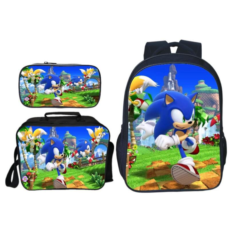 3Pcs/Set Sonic Shadow Backpacks For Kids Cartoon Printed School Bags Boys Girls Primary Schoolbag Students Suit Backpacks Gifts
