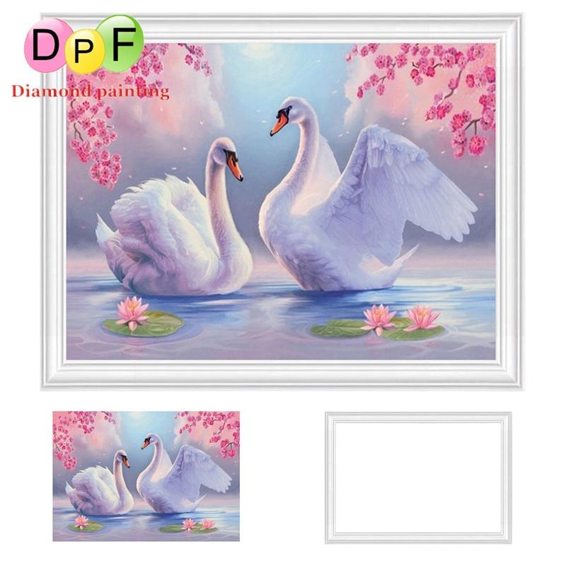 ᗕDPF hermoso Cisne enmarcado pintura Bordado redondo Cuadros de ...