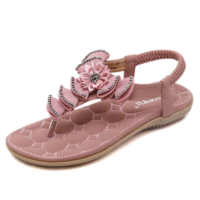 1f1ab417a9a00e Ethnic Flat Sandals for Women Shoes Size 42 Summer Flowers Crystal Beach  Sandals Elastic Band Gladiator