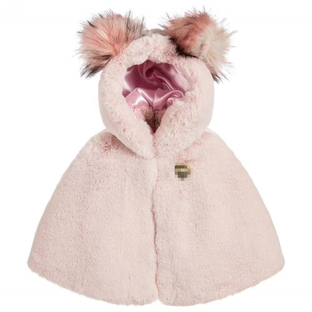 High Quality! 2018 Girls Winter Cape Faux Fur Princess Pink Fur Cape Little Girls Hoodies with Fur PomPom Baby Girls Capes Warms