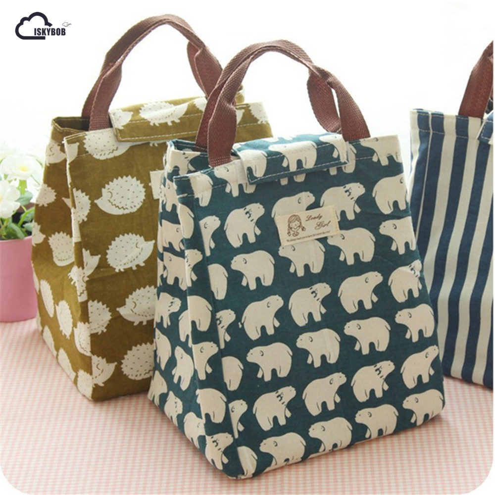 Iskybob Cute Animal Whale Portable Insulated Canvas Lunch