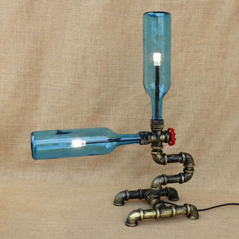 Vintage desk light include G4 light glass Bottle lampshadesbulb table lamp for bedroom bedside livingroom office study 220V