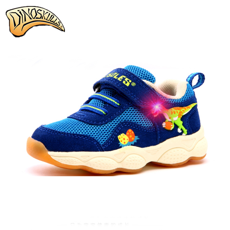 2017 Garçons lumineux sneakers Garçons clignotant chaussures enfants chaussures lumineux tenis led infantil garçons 3D dinosaure Respirant chaussures Printemps