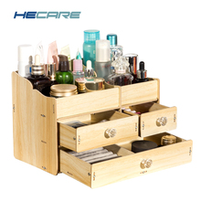 2017 New Upgrade Jewelry Box Wood Modern Cosmetic Organizer Case for Cosmetics Wooden with Drawer Desk Container