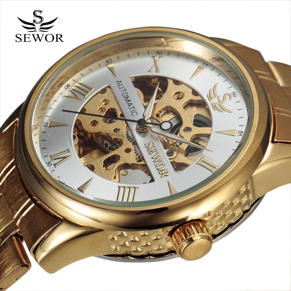 Nová móda Sewor Značka Design Skeleton Vojenská hodinka Nerezová - Pánské hodinky