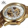 Nova Moda Sewor Marca Design Vestido Casual Homens De Luxo De Ouro de Aço Inoxidável Relógio Militar Esqueleto Mecânico Relógio Automático