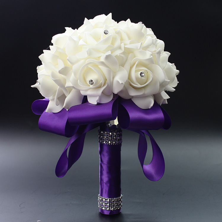 2019 Beautiful White Ivory Bridal Bridesmaid Flower Wedding Bouquet Artificial Flower Rose Bouquet Crystal Bridal Bouquets AA30