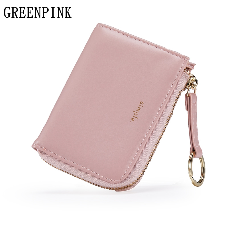 GREENPINK Women Wallets New Fashion Zipper Mini Small Wallet Female PU Leather Short Slim Wallet Brand Ladies Coin Purse Holder fashion small wallet women short luxury brand cute female purse pu leather cat design girls lady zipper wallets card holder bags