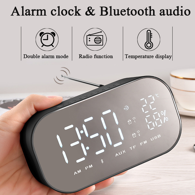 Led Mirror Digital Alarm Clock Wireless Bluetooth Speaker with FM Radio Subwoofer Music Player Snooze Desktop Clock HD Display