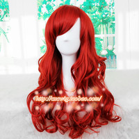 Biamoxer New The Little Mermaid Dark Red Wig Body Wave Wig Cosplay Princess Ariel Wig Role Play Costume Hair
