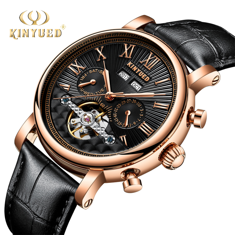 все цены на KINYUED Fashion Watch Men Automatic Mechanical Waterproof Year Month Calendar Skeleton Tourbillon Mens Wristwatch Relojes Hombre