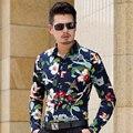 CE04-Осень L-6XL 7XL Сорочки для Мужчин С Длинным Рукавом 2016 Мужская Цветочные Рубашки Гавайские Рубашки Мужчины Рубашки Платья Camisas Пункт Hombre