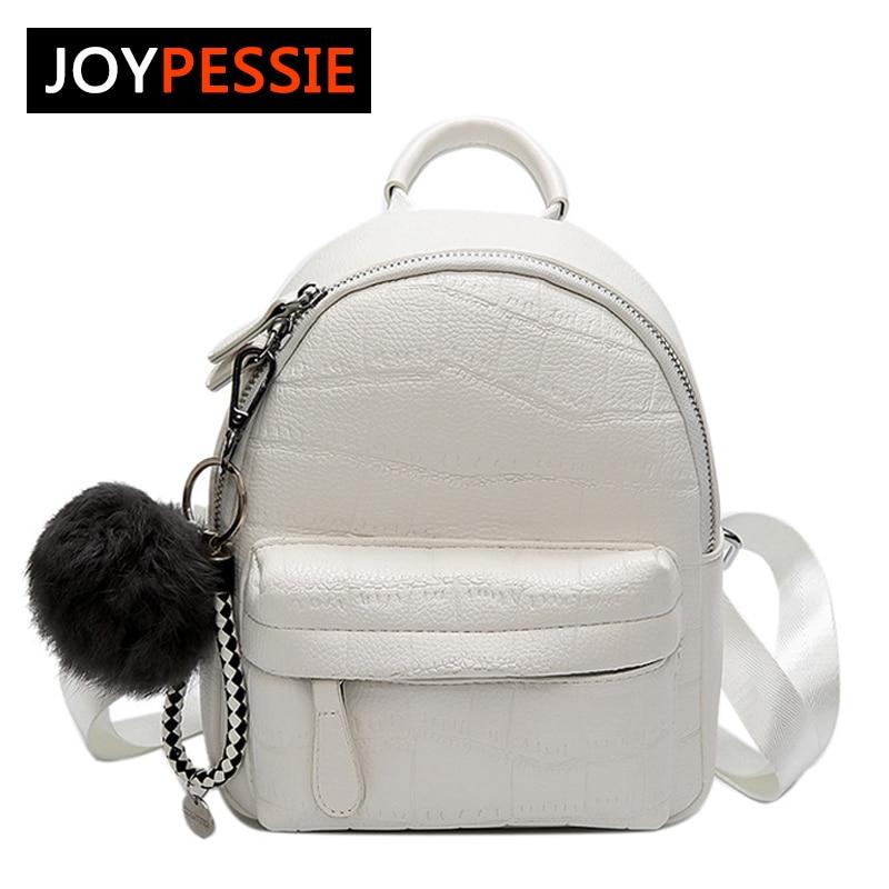 JOYPESSIE New Soft PU Leather Women Bag For Teenager Travel Backpack Korean Women Female Rucksack Leisure